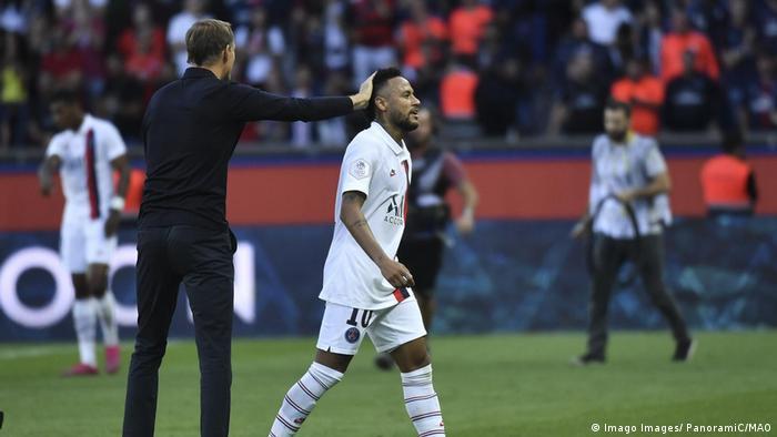 Neymar et Thomas Tuchel FOOTBALL PSG vs Strasbourg Ligue 1 14 09 2019 MAO Panoramic PUBLICATIO