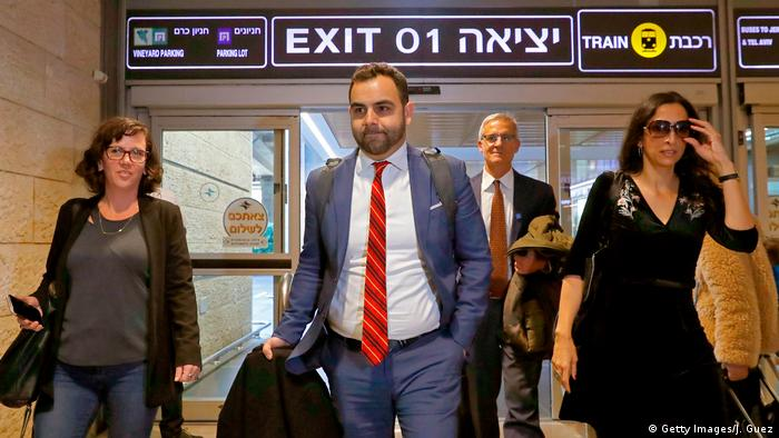 Omar Shakir, New York-based Human Rights Watch's director for Israel and the Palestinian territories, arrives at Ben Gurion Airport