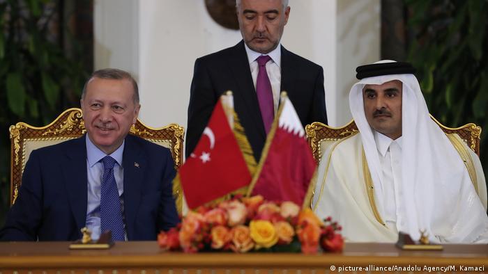 أمير قطر تميم بن حمد والرئيس التركي رجب طيب أردوغان في الدوح، 25 نوفمبر/ تشرين الثاني الماضي.