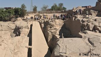 The damaged, unfinished obelisik in Aswan