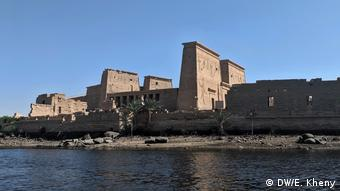 Exterior view from Nile river of the Temple of Philae