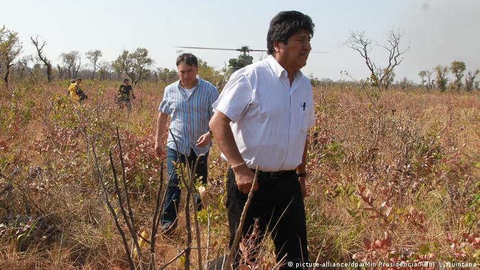 Waldbrände in Bolivien - Evo Morales (picture-alliance/dpa/Min Presidencia/ABI/J. L. Quintana)
