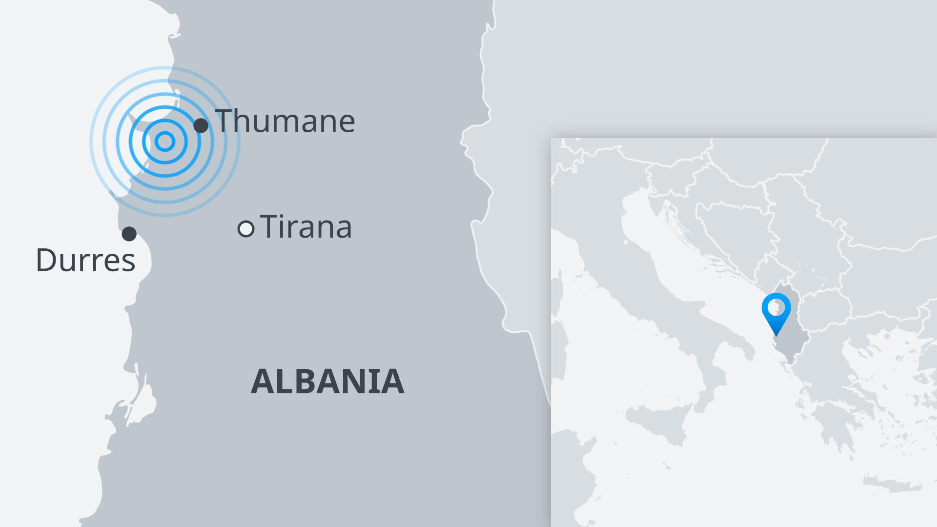 Infografik Karte Erdbeben in Albanien EN