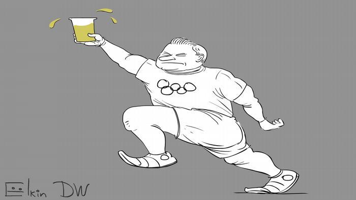 Karikatur von Sergey Elkin - Russischen Athleten droht Sperre bei den Olympischen Spielen