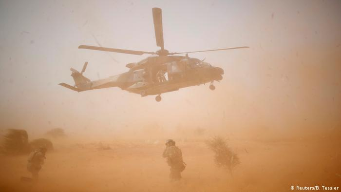 NH 90 Caiman military helicopter takes-off during the regional anti-insurgent Operation Barkhane in Inaloglog, Mali, October 17, 2017