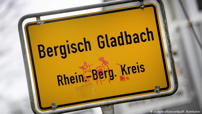 A town sign in Bergisch Gladbach, Germany