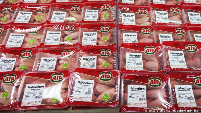 Rows of chicken in plastic packaging