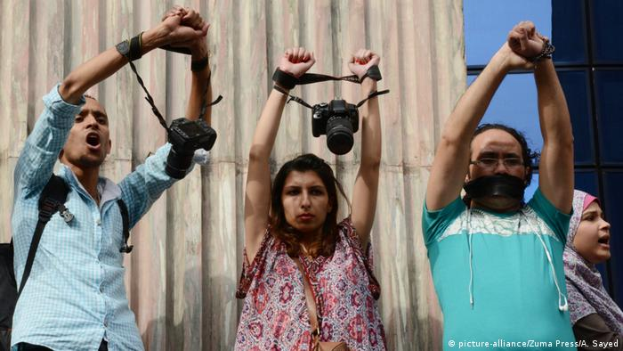 Journalists in Egypt protest on World Press Freedom Day in Cairo, Egypt