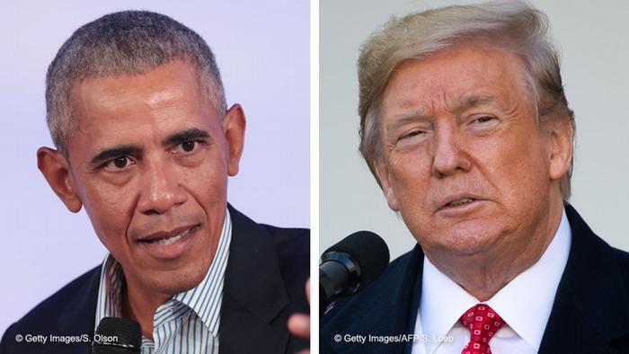 Kombobild Barack Obama - Donald Trump