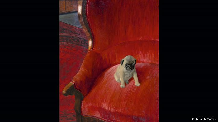 German Jugendstil-inspired artist Thomas Theodor Heine painted this pug puppy in a plush single-seater in 1921 (Print & Coffee)