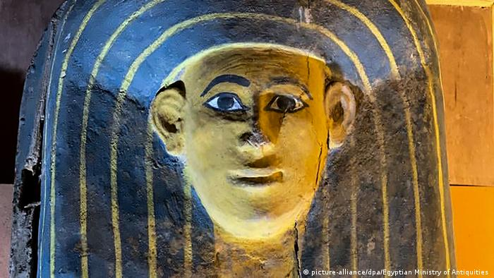 The cover of one of the coffins discovered in Luxor