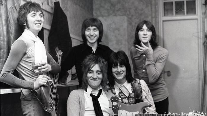 The band Faces in a black and white photo