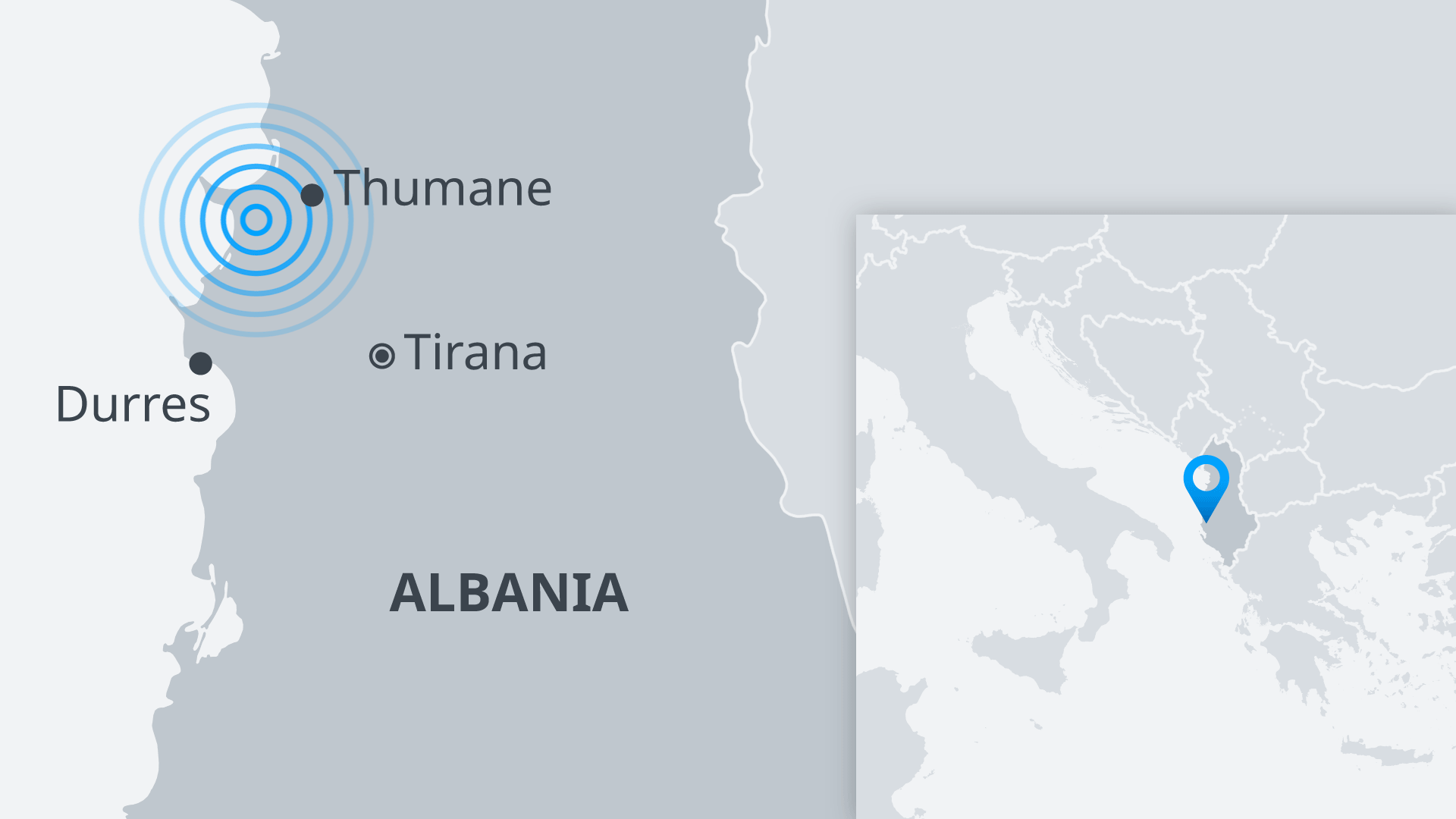 Map of Albania showing Thumane, Durres and tirana