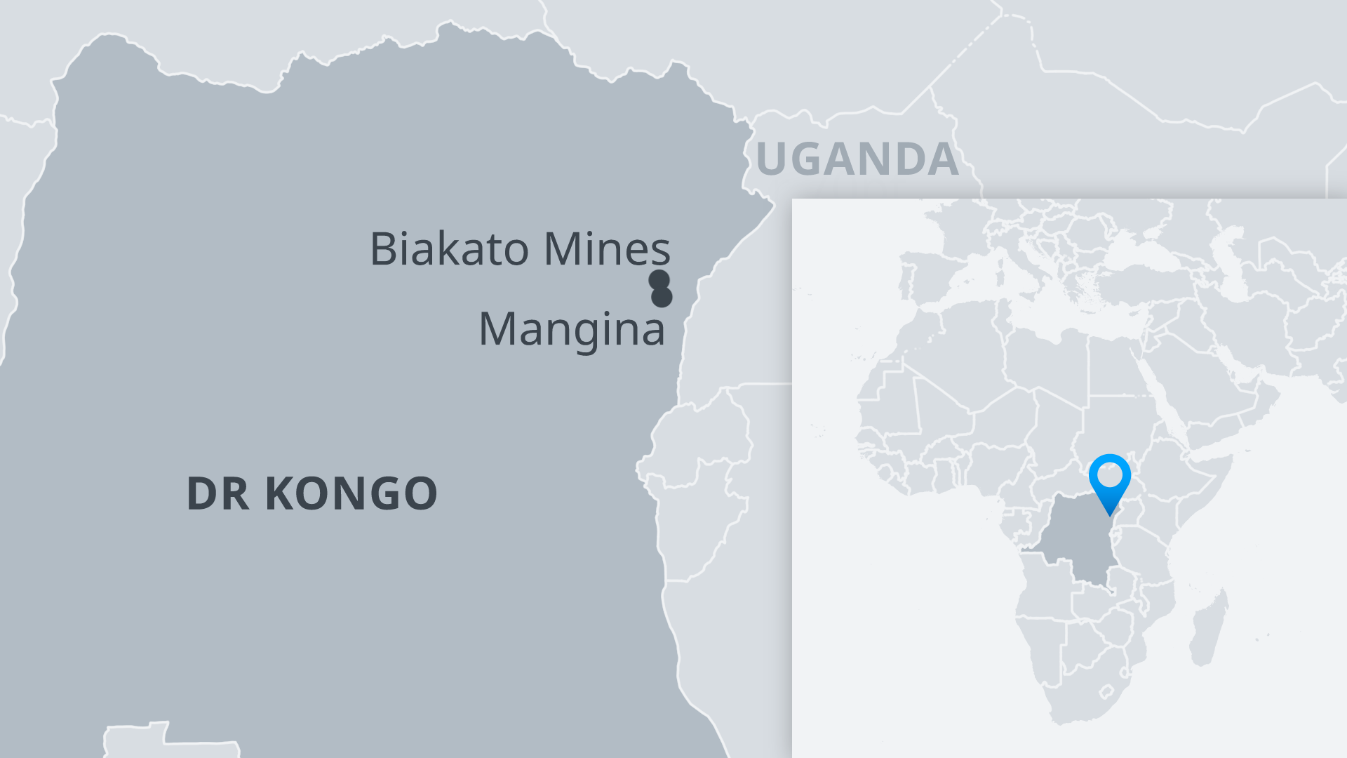 Karte DR Kongo Biakato Mines und Mangina DE