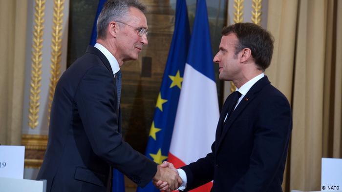 NATO-Generalsekretär Jens Stoltenberg und Emmanuel Macron
