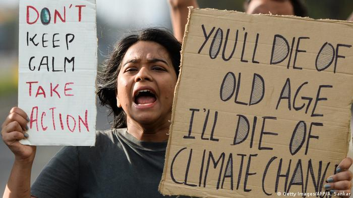 Indien Klimaprotest   Friday Climate Action Day (Getty Images/AFP/A. Sankar)
