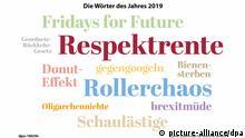 ILLUSTRATION - 29.11.2019, Hessen, Wiesbaden: Die Wörter des Jahres 2019 in einer grafischen Darstellung. «Respektrente» ist das Wort des Jahres 2019. Diese Entscheidung gab die Jury der Gesellschaft für deutsche Sprache (GfdS) am 29.11.2019 in Wiesbaden bekannt. Auf dem zweiten Platz landete «Rollerchaos». Mit «Fridays for Future» kam ein Anglizismus auf dendritten Platz, der «wie kein anderer Ausdruck» für eine junge Generation stehe, die bereit sei, für ihre Zukunft auf die Straße zu gehen. (zu dpa Respektrente» ist Wort des Jahres 2019 - vor «Rollerchaos») Foto: -/dpa-Grafik/dpa +++ dpa-Bildfunk +++ | Verwendung weltweit