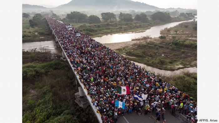 Zentralamerika-Migrantenkarawane Anmarsch an der Grenze Mexikos