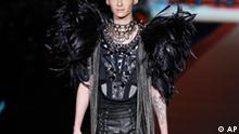 Tokio Hotel singer Bill Kaulitz, of Germany, wears a creation of DSquared2 men's Fall-Winter 2010/2011 collection, part of the Milan Fashion Week, unveiled in Milan, Italy, Tuesday, Jan. 19, 2010. (AP Photo/Antonio Calanni)