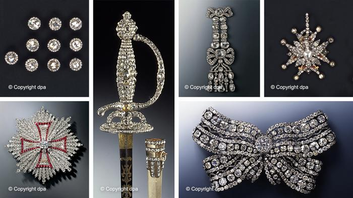 Images of stolen items, including a breast star, sword, diamond-covered ribbon and other jewels