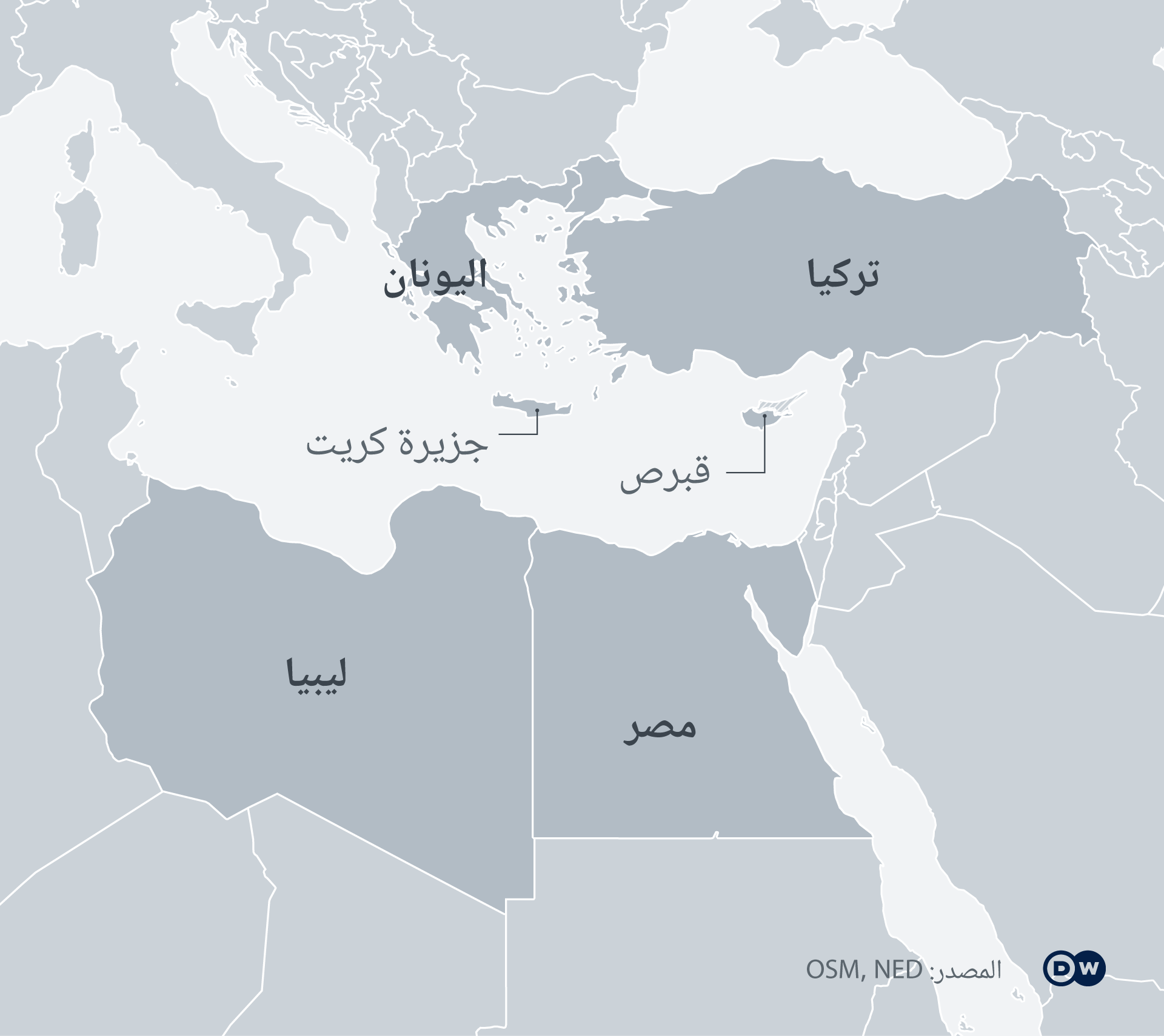 خارطة شرق البحر الأبيض المتوسط