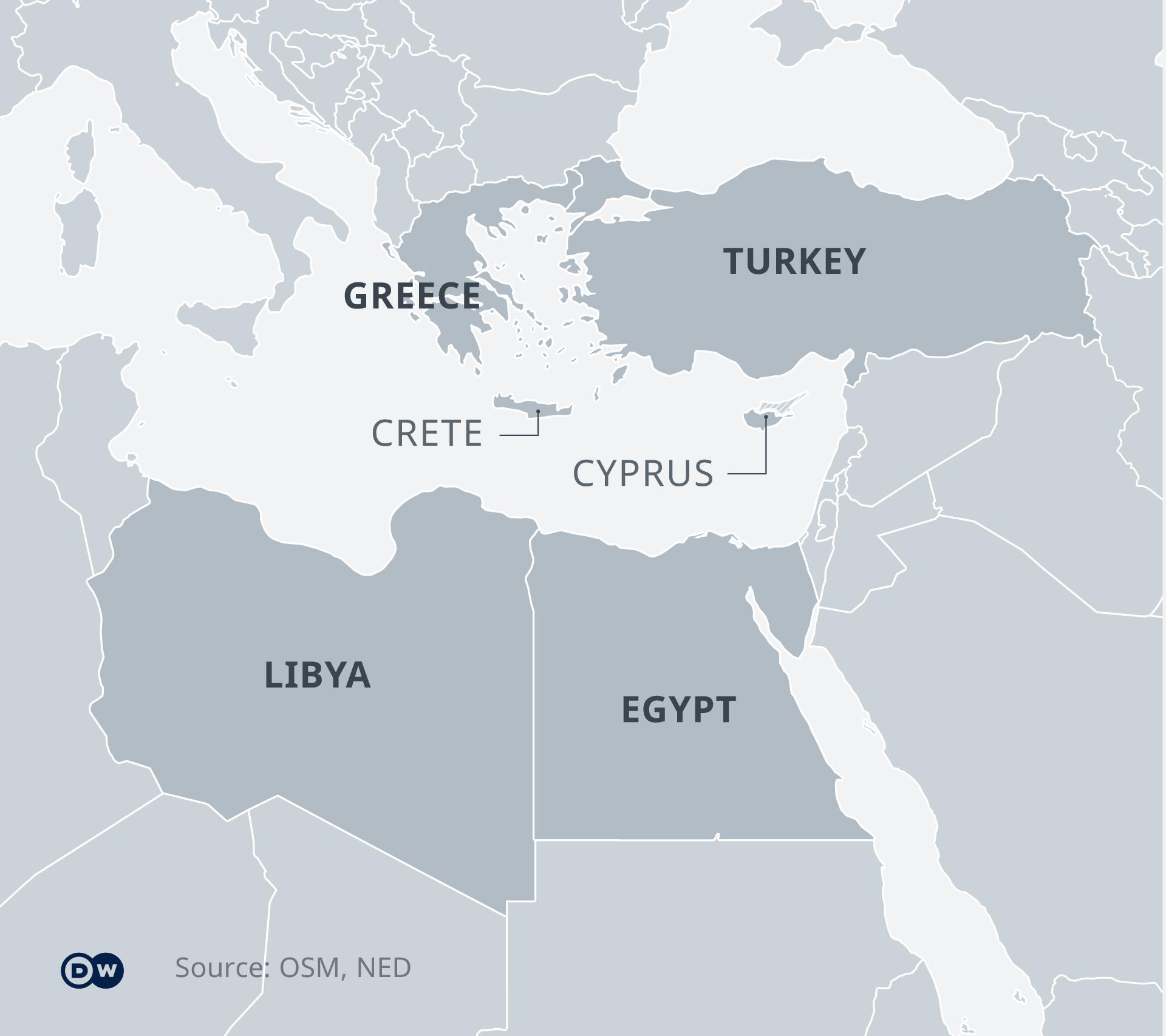 خريطة لدول التي تشترك في حدودها بالبحر المتوسط
