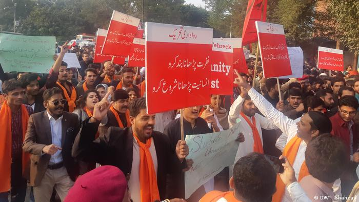 A student protestr in Lahore, Pakistan