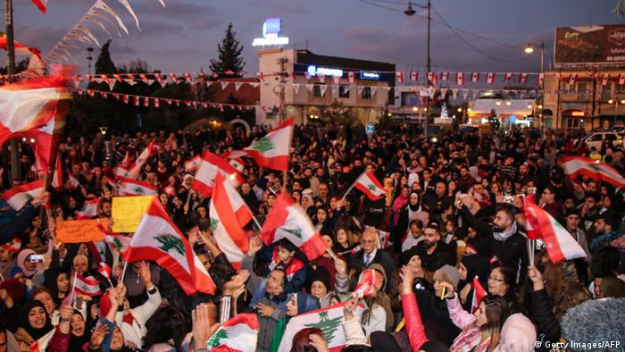 Crowds of protesters in Beirut