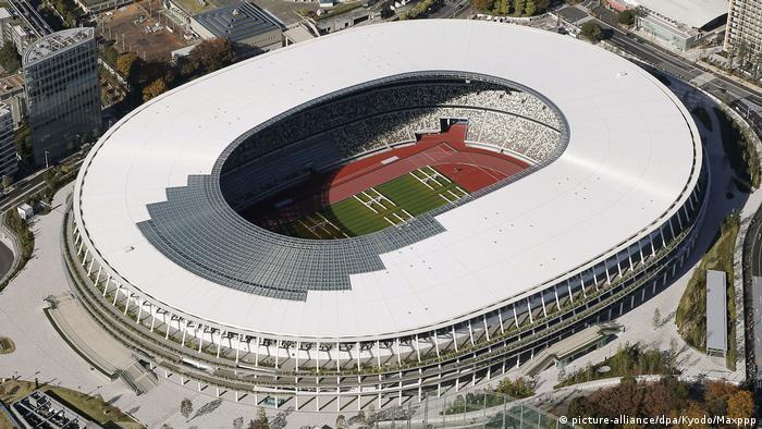 Новый олимпийский стадион в Токио с высоты птичьего полета