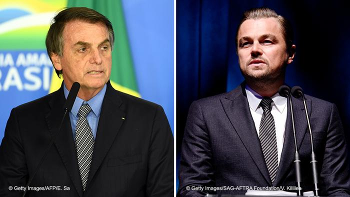 Bildkombo Jair Bolsonaro Präsident Brasilien & Leonardo DiCaprio, Schauspieler