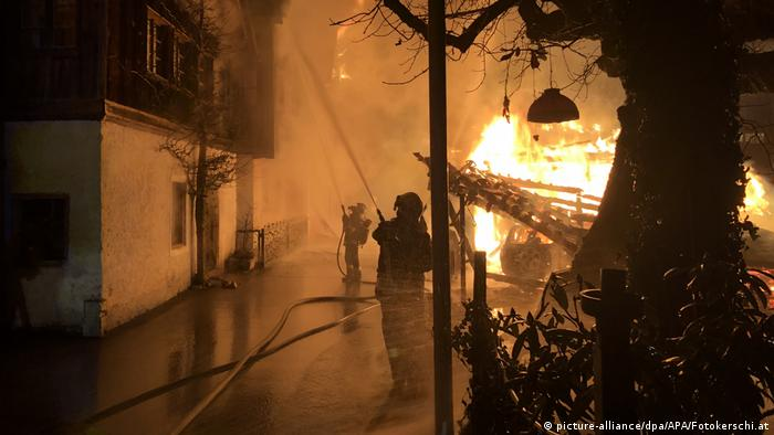 Firefighters work against a fire in Hallstatt.