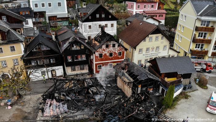 Aerial view of the damage in Hallstatt.