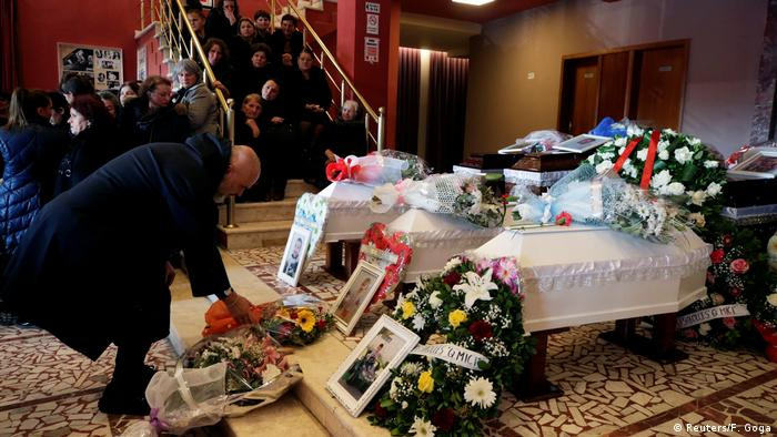 Prime Minister Edi Rama at the funeral for one family killed in the quake