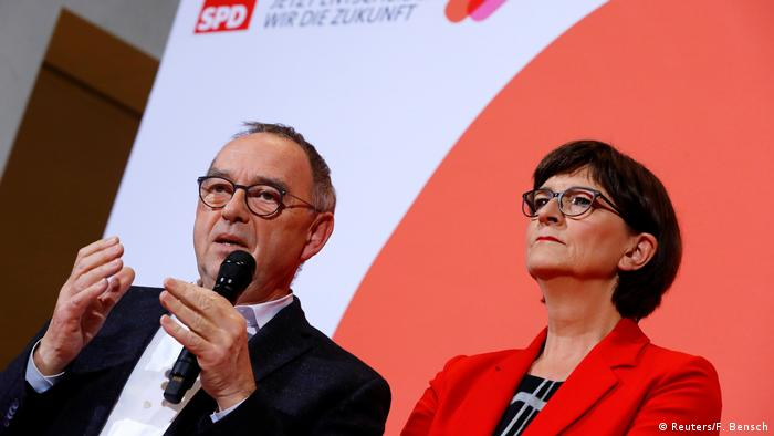 Norbert Walter-Borjans speaks after being announced with Saskia Esken as winners of a Social Democratic Party members' ballot