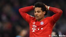 Bayern Munich's midfielder Serge Gnabry reacts during the German first division Bundesliga football match FC Bayern Munich vs Bayer 04 Leverkusen in Munich, southern Germany, on November 30, 2019. (Photo by Christof STACHE / AFP) / RESTRICTIONS: DFL REGULATIONS PROHIBIT ANY USE OF PHOTOGRAPHS AS IMAGE SEQUENCES AND/OR QUASI-VIDEO