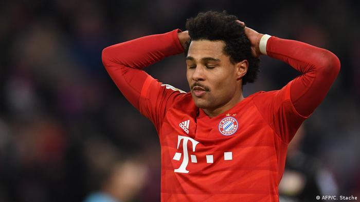 Bayern Munich's midfielder Serge Gnabry reacts during the German first division Bundesliga football match