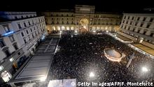 An estimated 30,000 'Sardines' gathering in Florence on November 30 (Getty Images/AFP/F. Monteforte)