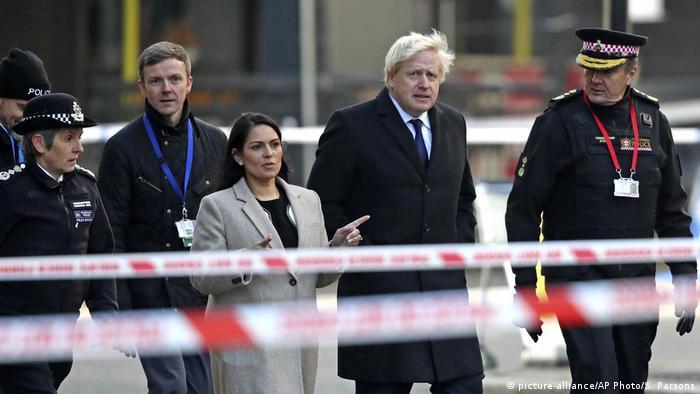 Home Secretary Priti Patel in 2019 with Prime Minister Boris Johnson
