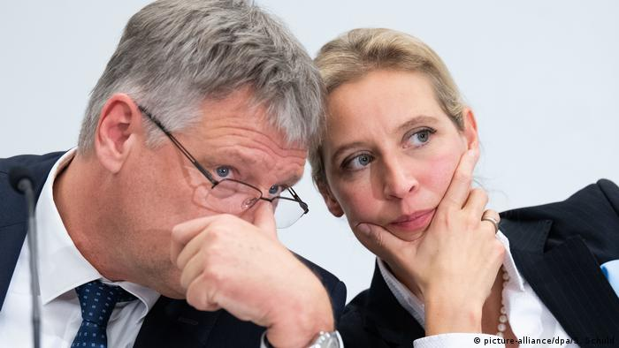 AfD's Meuthen and Weidel talk during a party summit in 2019