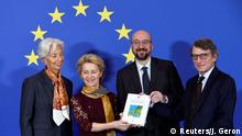 European Central Bank (ECB) President Christine Lagarde, European Commission President Ursula von der Leyen, European Council President Charles Michel and European Parliament President David Sassoli pose with a copy of the Treaty of Lisbon during a ceremony celebrating the 10th anniversary of the EU Lisbon treaty, in Brussels, Belgium December 1, 2019. REUTERS/Johanna Geron