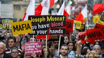 Malta Valetta demonstration for Daphne Caruana Galizia