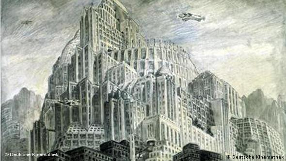 Architecture sketch for Fritz Lang's film Metropolis
