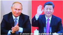 Bildkombo Russland Videokonferenz Präsident Wladimir Putin mit China Präsident Xi Jinping