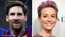 Kombobild Lionel Messi und Rapinoe