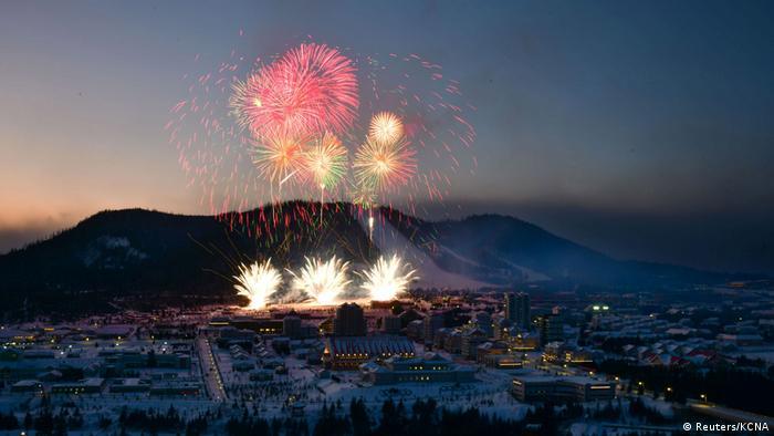 Fireworks exploding above Samjiyon (Reuters/KCNA)