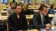 Die Angeklagten im Prozess Reket , u.a. Katica Janeva, Bojan Jovanovski, Zoran Mileski, Zoran Mileski