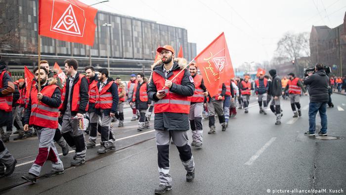Thyssenkrupp employees protest in Duisburg