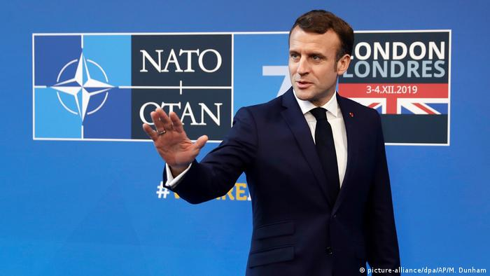 England NATO Gipfel in London | Emmanuel Macron (picture-alliance/dpa/AP/M. Dunham)