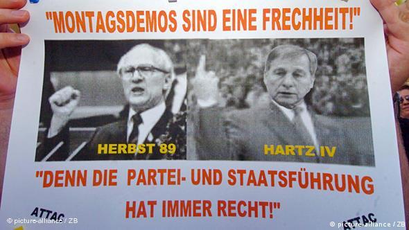 Hartz IV demo poster shows former East German Communist leader Erich Honnecker and former Labor Minister Wolfgang Clement