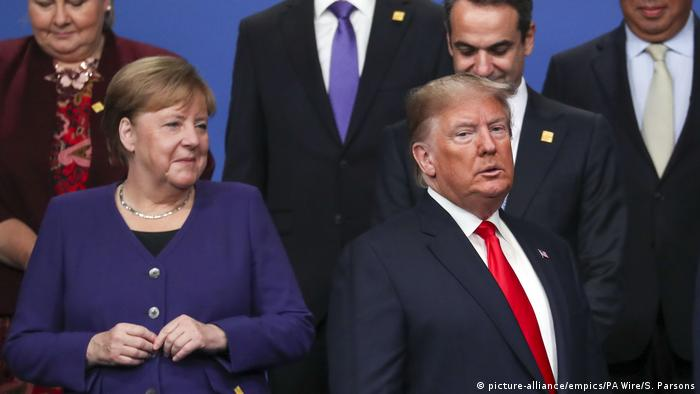 UK NATO-Treffen in London l Angela Merkel und Donald Trump (picture-alliance/empics/PA Wire/S. Parsons)